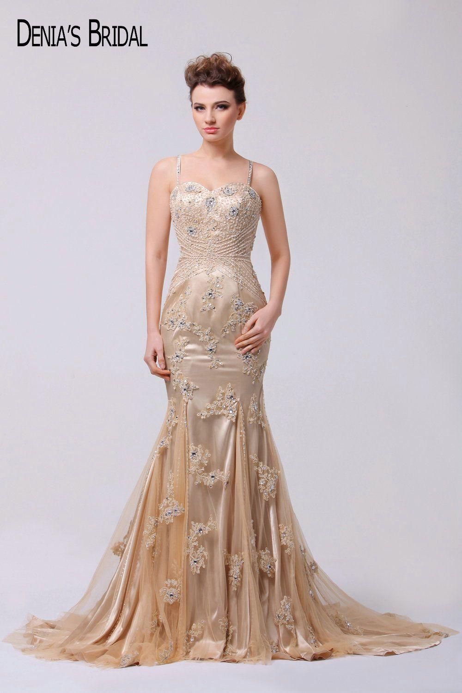 Spaghetti champagne mermaid evening dresses beading applique court