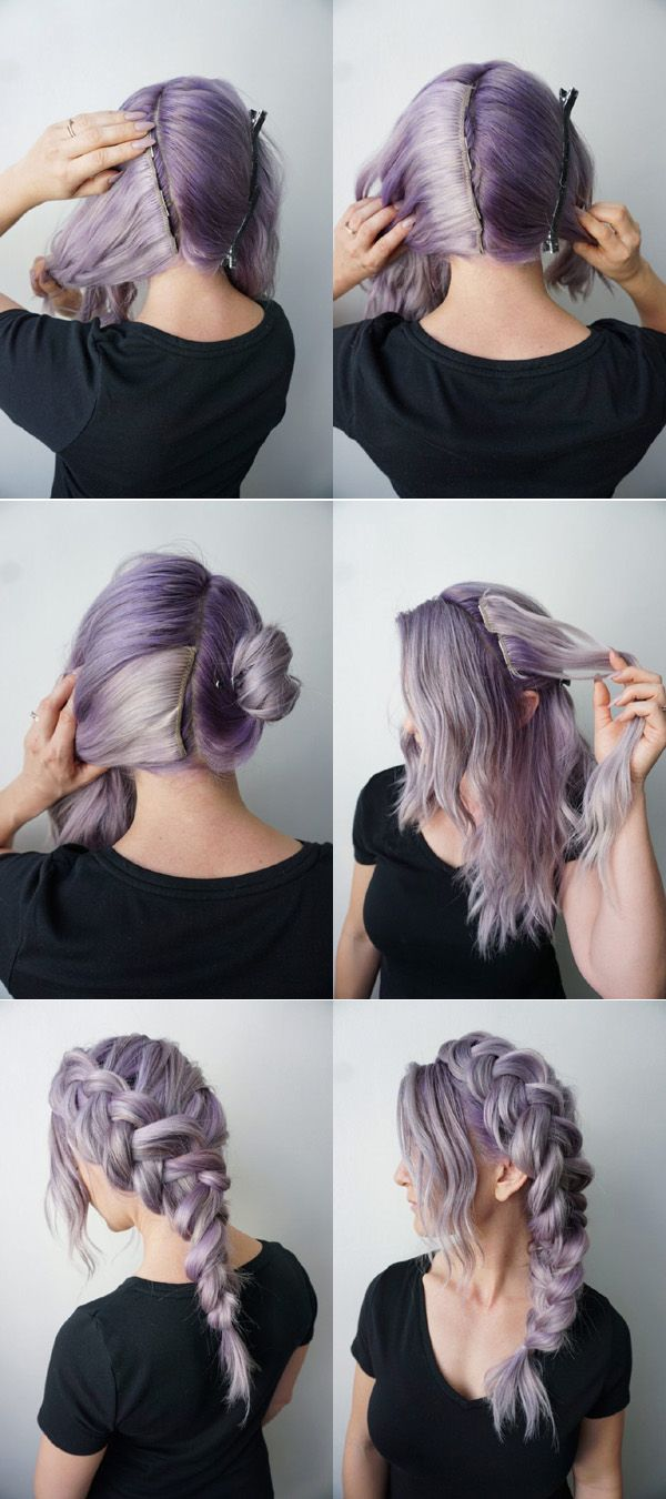 Rooty Long Lavender Hair Dutch Braids With Images Braids For