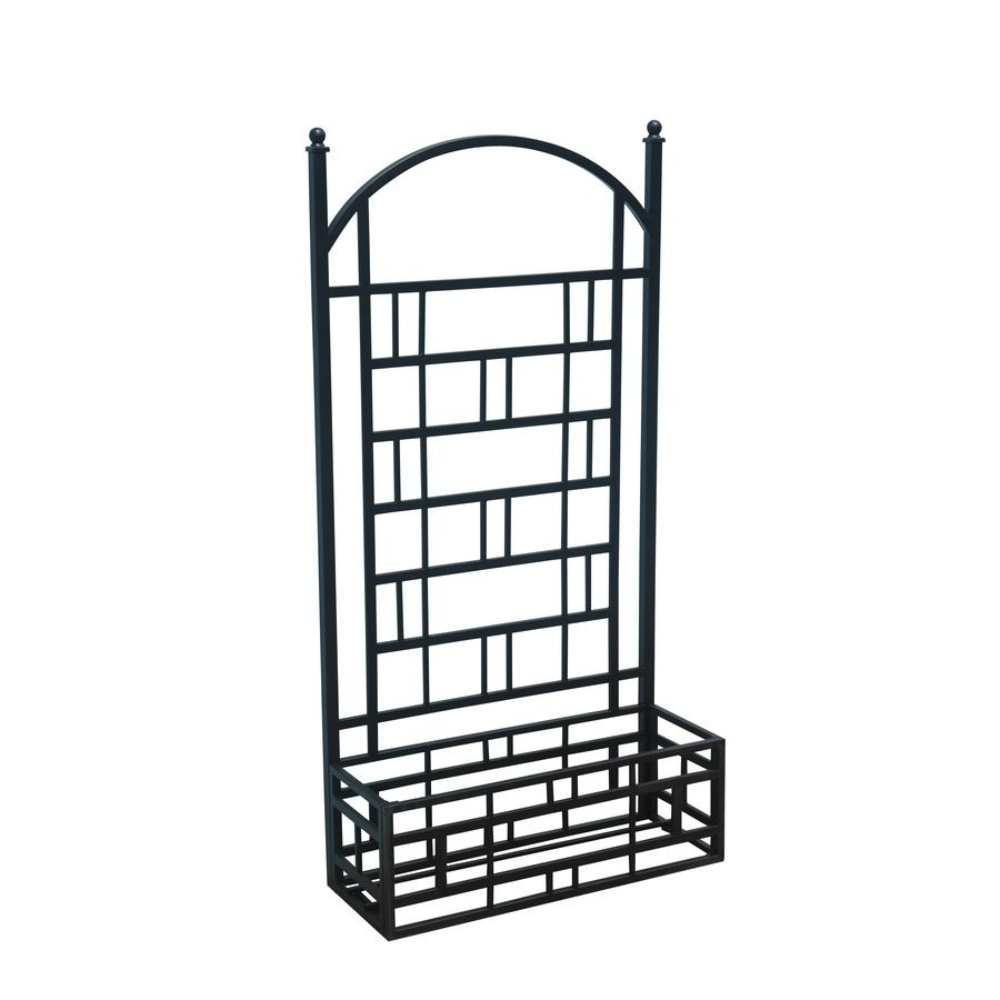 Matte Black Garden Trellis with Planter Box at Lowes Two of