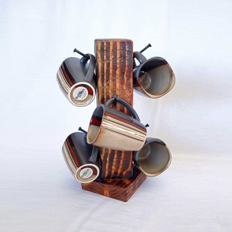 Rustic Coffee Mug Rack Tree 6 Coffee Cup Holder