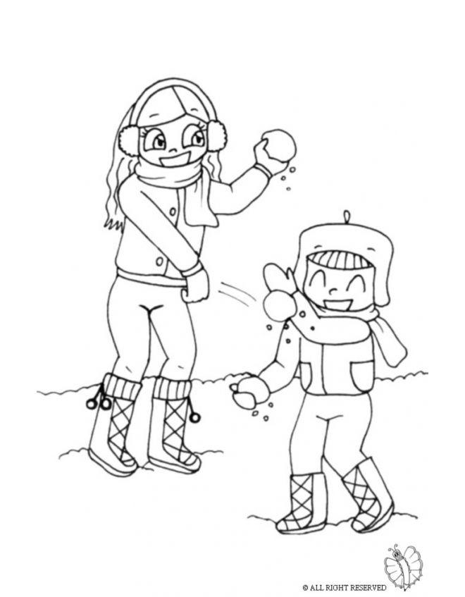 Disegno Bambini Che Lanciano Palle Di Neve Disegni Da Colorare E