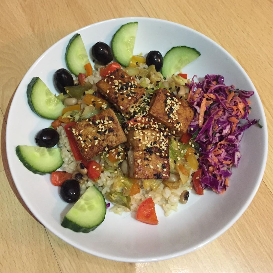 vegan dinner with brown Japanese rice !