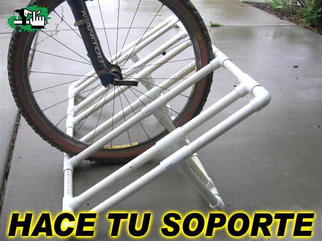 Soporte bicicletas de pvc soportes bici pinterest for Soporte para bicicletas suelo