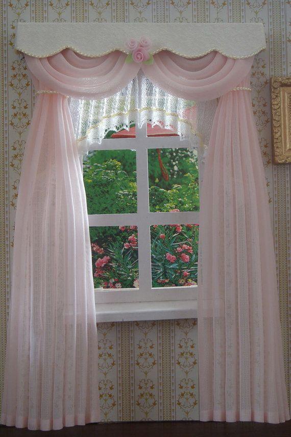 1:12 Dollhouse curtains miniature furniture accessories window valance ^P