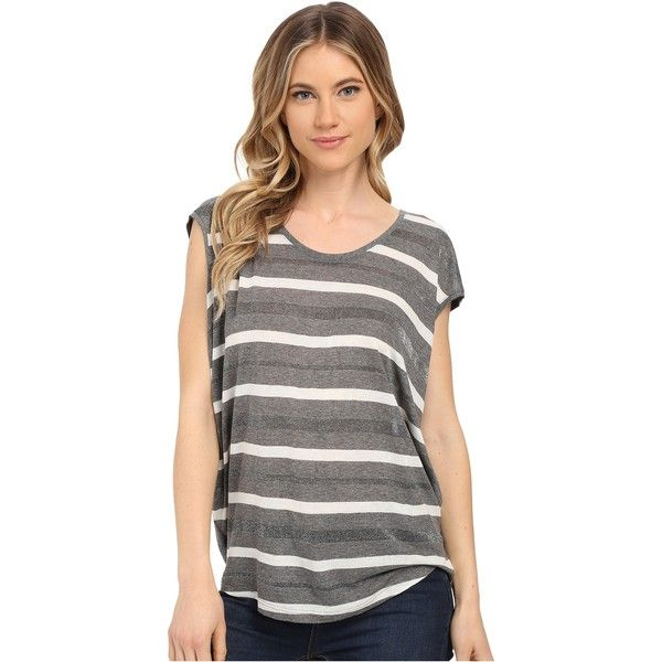 Splendid Mojave Shine Circle Tee ($45) ❤ liked on Polyvore featuring tops, t-shirts, silver, scoop-neck tees, curved hem t shirt, relax t shirt, striped tee and jersey t shirts