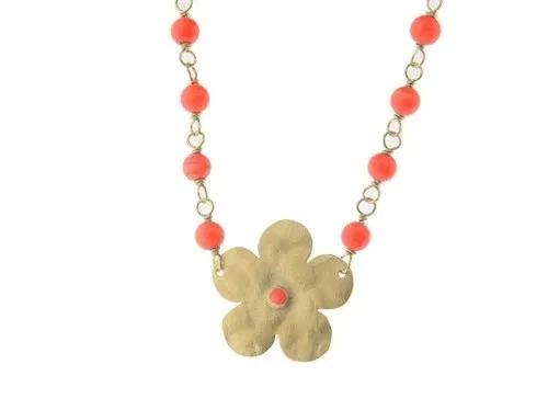 Hammered Flower  Coral Choker Necklace Hammered Flower  Coral Choker Necklace