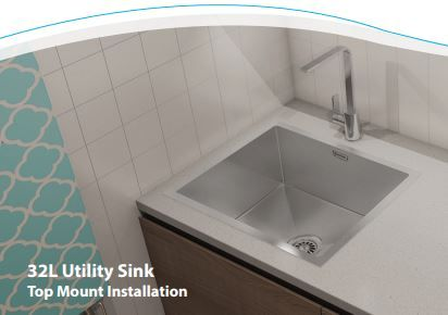30l Utility Sink Over Under Mount 450x450x250mm With Images