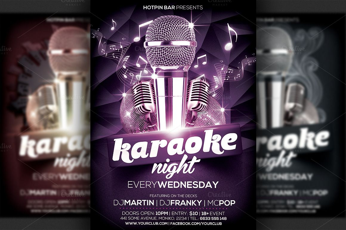 karaoke night flyer template creative flyer template and karaoke karaoke night flyer template by hotpin on creative market