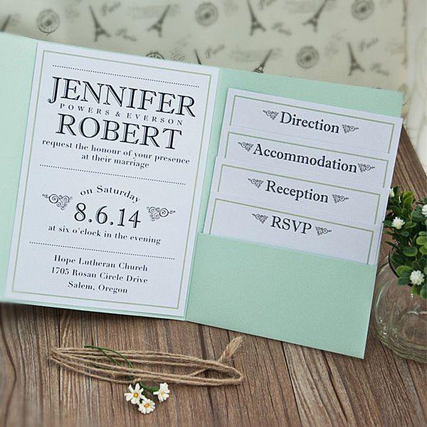 Modern Simple Green Pocket Wedding Invitations Ewpi131