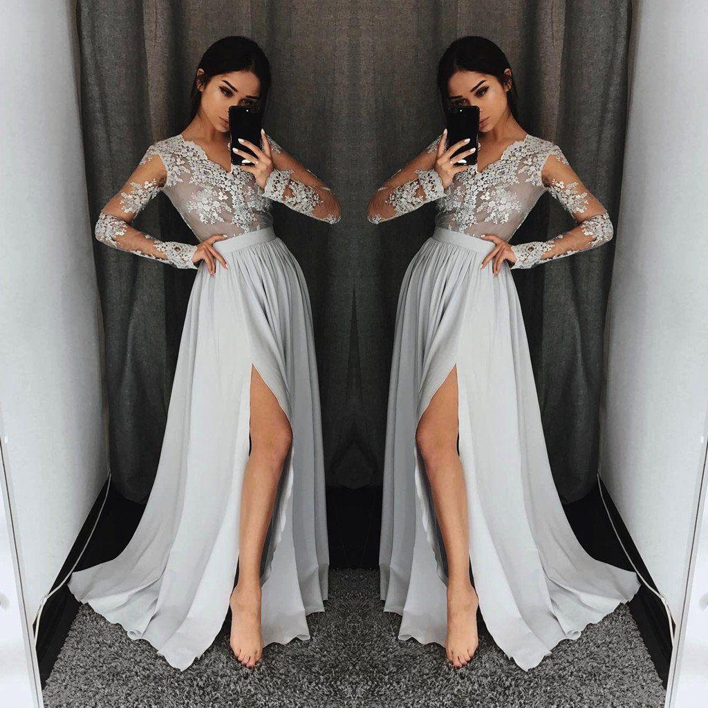Popular aline long sleeves vneck lace evening dresses high slit