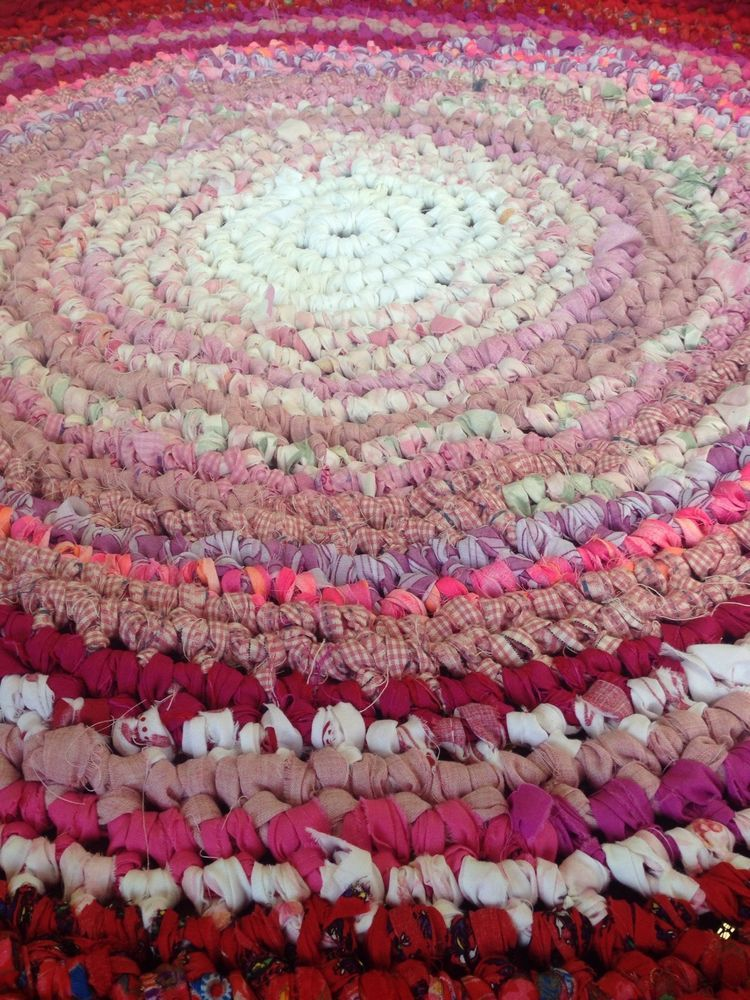Mandala Cloth Rug Pink Red Beige Round Rug Upcycled
