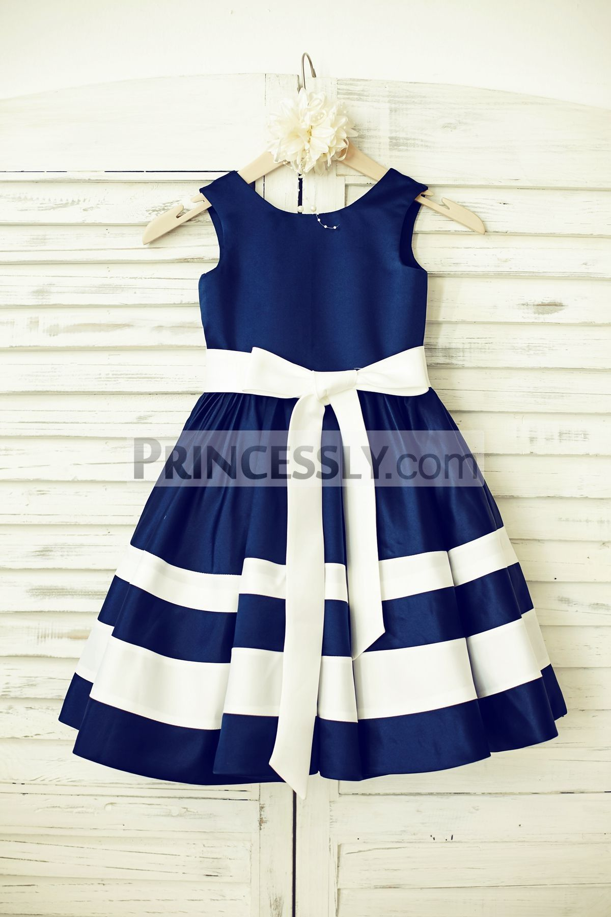 Navy blue satin ivory stripe flower girl dress blue satin satin navy blue satin ivory stripe flower girl dress izmirmasajfo Gallery