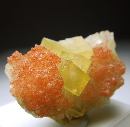 Yellow cubes of Fluorite atop of red druzy Quartz crystals Aouli, Morocco