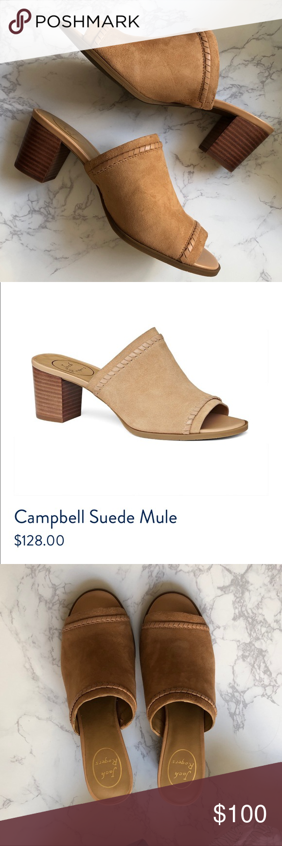 52cf1e8be49 NWT Jack Rogers Campbell Suede Mules Brand new