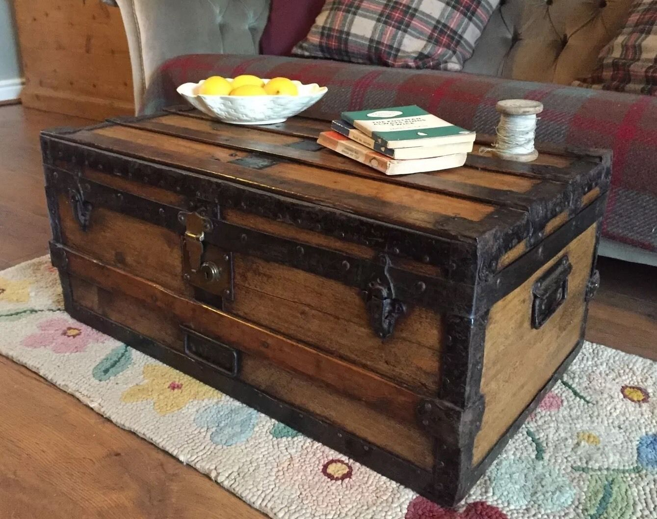 Antique steamer trunk blanket chest coffee table pine travel toy