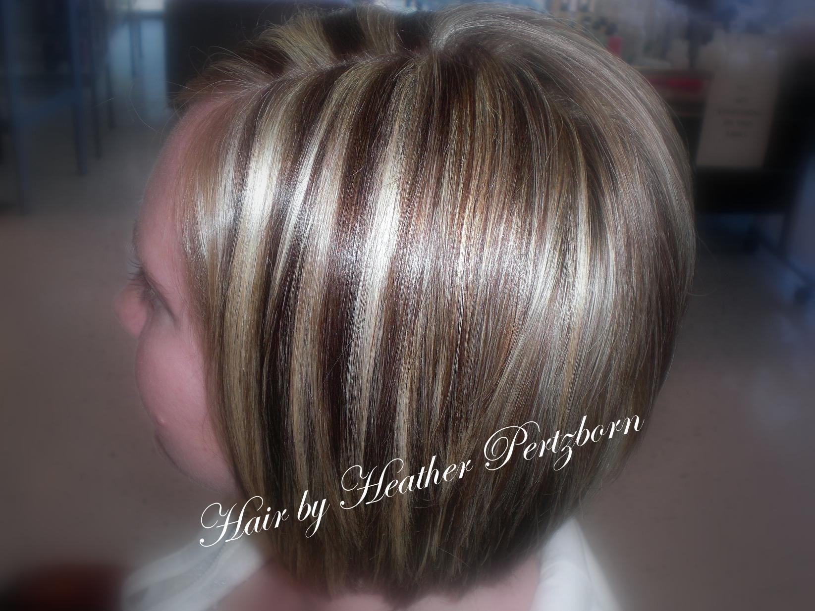 Cute bob cut chunky highlights lowlights blonde red brown layers