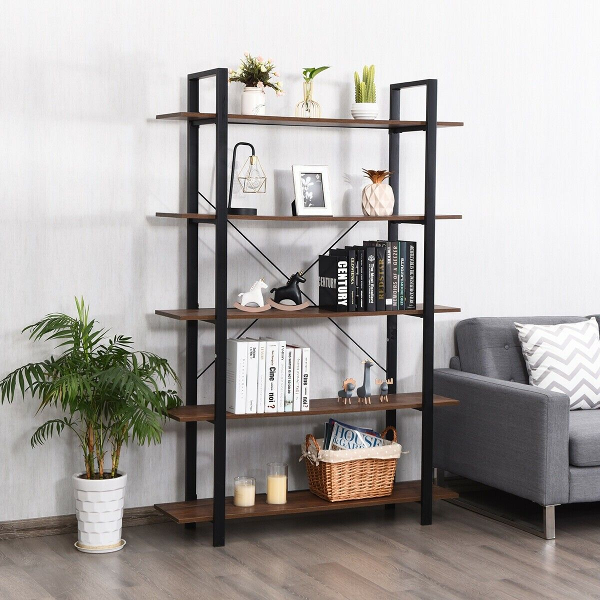 5 Tiers Bookshelf Industrial Bookcases Metal Frame Shelf Stand