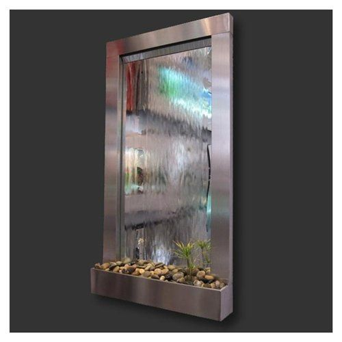 Indoor waterfall mirror cool products pinterest for Glass waterfall design