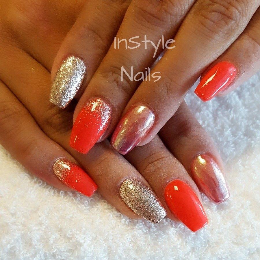 Nails Orange chrome and glitter | Nails Nails Nails!!! | Pinterest ...