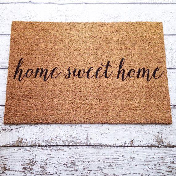 home sweet home welcome mat doormat door mat gift by lorustique lorustique pinterest. Black Bedroom Furniture Sets. Home Design Ideas