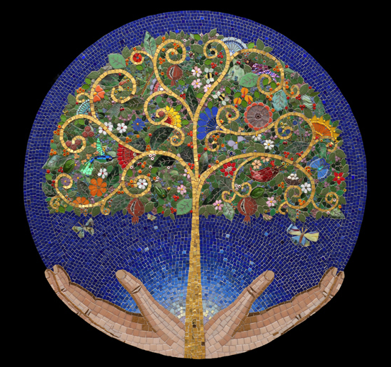 Irina Charny Mosaics -Tree of Life- glass, porcelain, gold, beads, & found objects Church of the Resurrection; Pleasant Hill, CA;