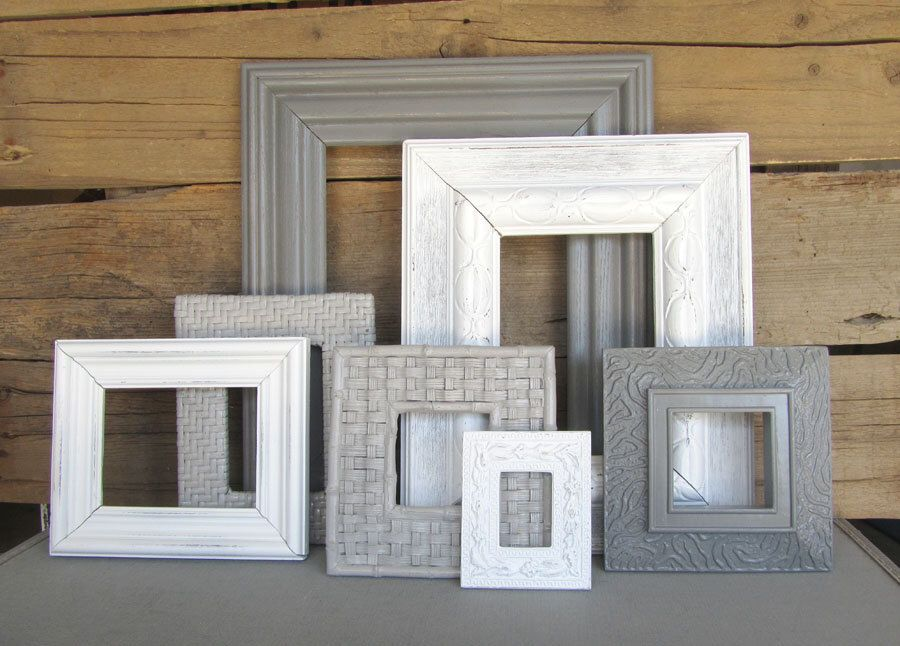 Gallery Wall Frame Set shades of grey & white vintage chunky open frames modern gallery