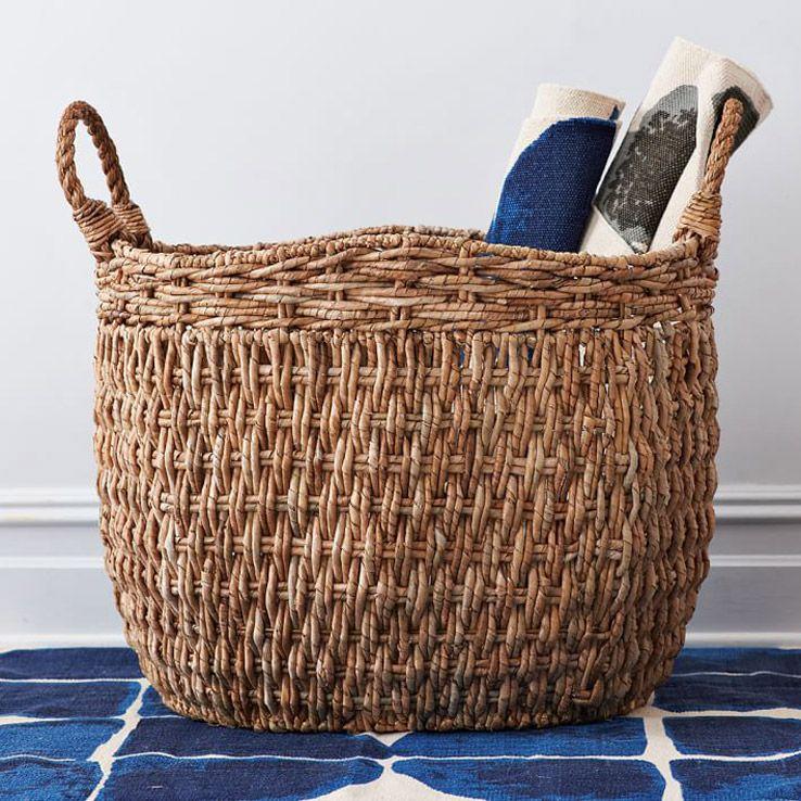 Handwoven seagrass basket west elm stylish storage