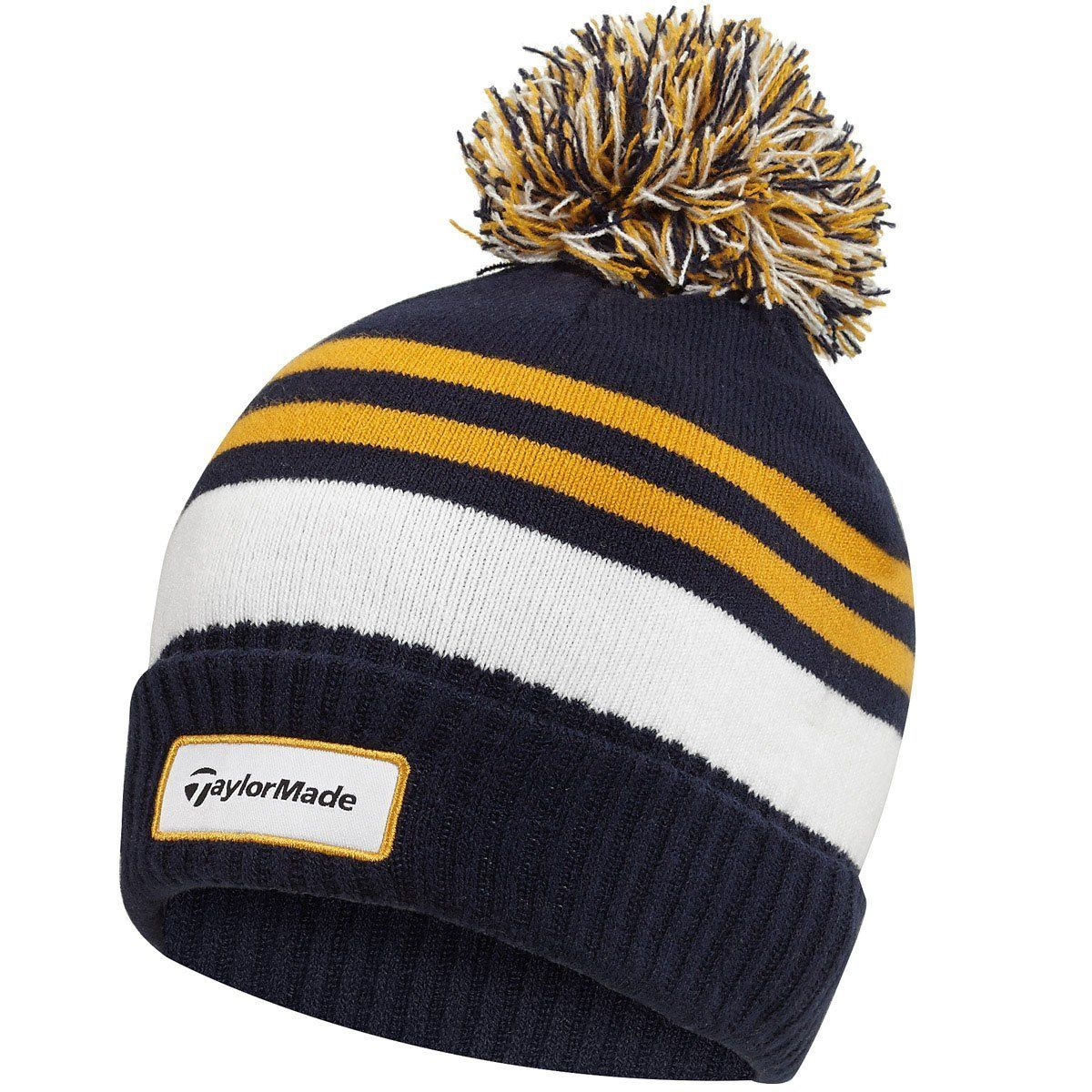9591a96551e ... protection this mens double knit thermal striped golf beanie bobble hat  by Taylormade will keep you warm and comfortable during the cold winter  months!
