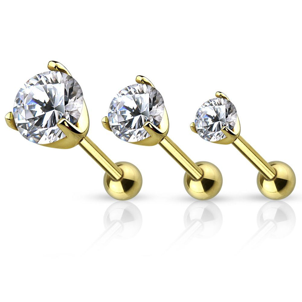 FreshTrends Cubic Zirconia 14K Yellow Gold Cartilage Tragus Stud Earring