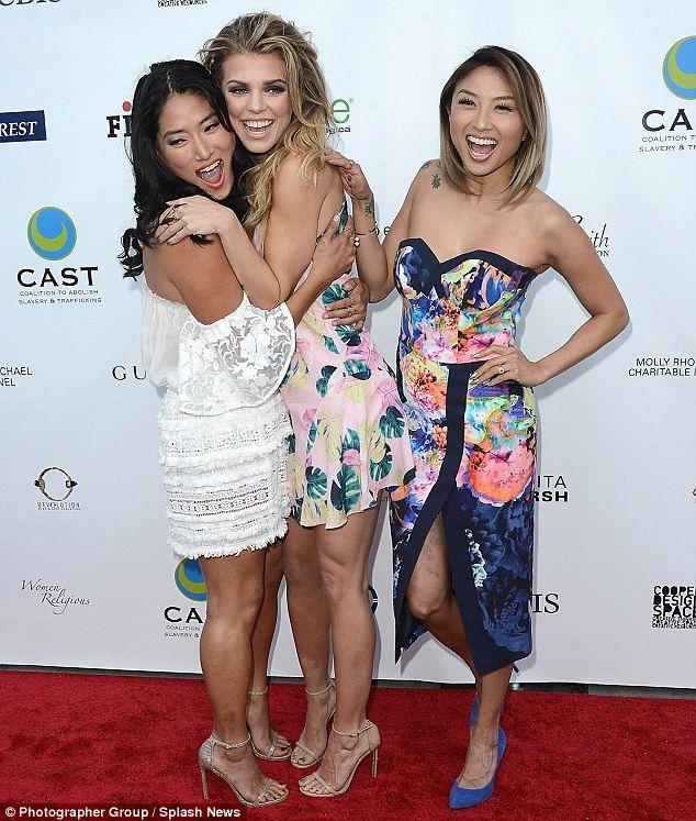 Happy hugs: AnnaLynne had fun mingling with Chloe Flower and Jeannie Mai