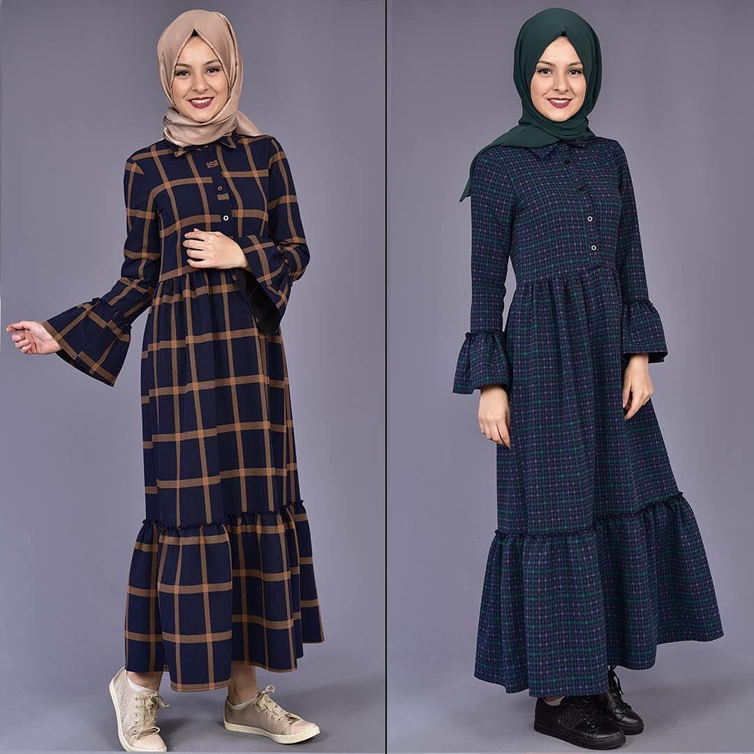 Modamerve Kol Firfirli Tesettur Ekose Elbise Modelleri Moda Tesettur Giyim Elbise Modelleri Elbise Moda Stilleri