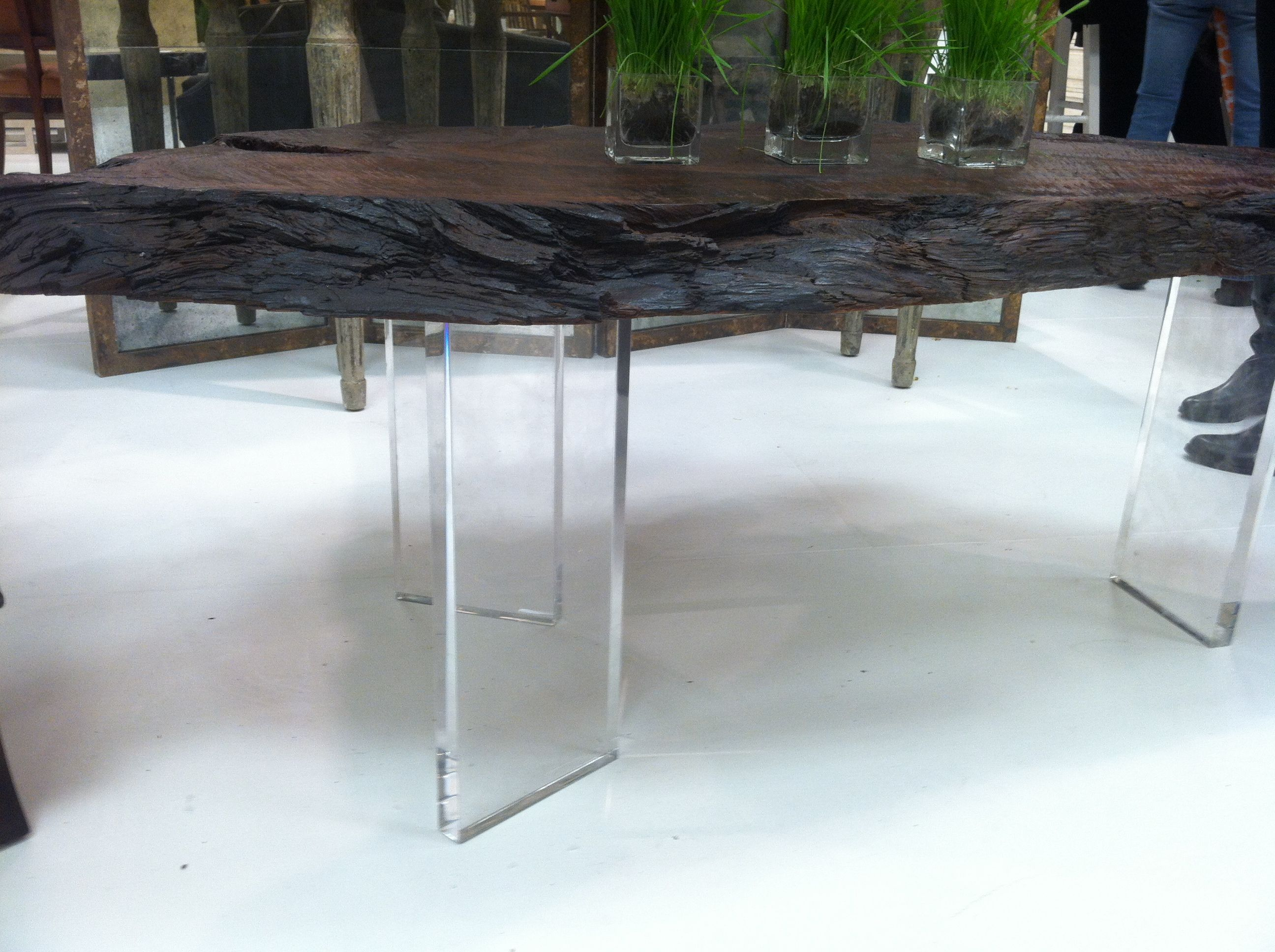 Amy Howard Wright Table Acrylic Legs with Live Edge Wood Top