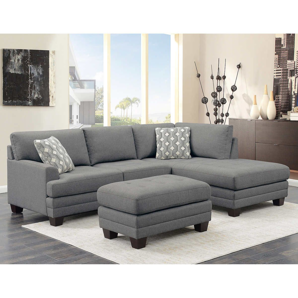 Mitch Fabric Sectional With Ottoman Sectional Sofa Ottoman In Living Room Grey Sectional Sofa