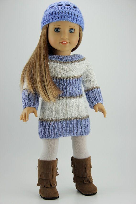 Handmade Knitted 18 Doll Dress