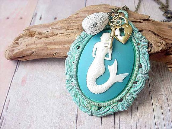 Mermaid Cameo Pendant Turquoise Teal Hand by MySelvagedLife