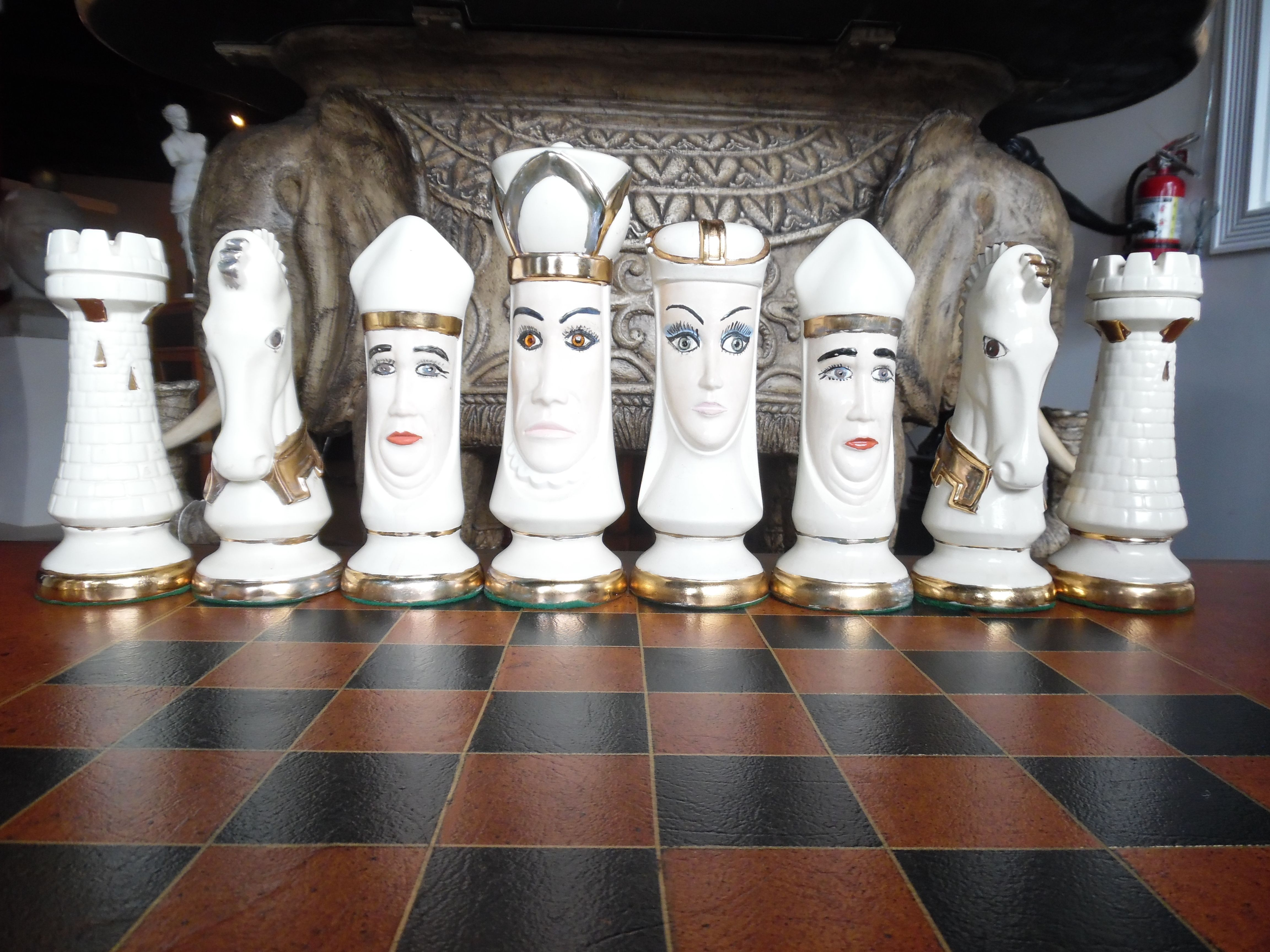 White Chess Board Pieces, Duncan Medieval Hand Painted Porcelain (32 Piece  Set) $495 @ Grapes Furniture Gallery