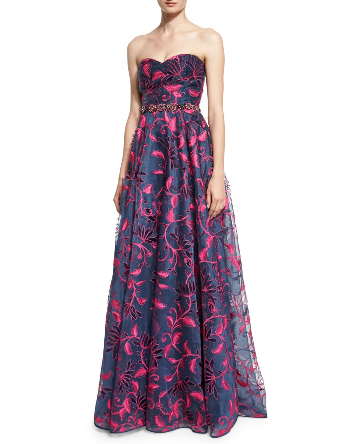 Strapless Sweetheart Floral Embroidered Ball Gown, Navy, Women\'s ...