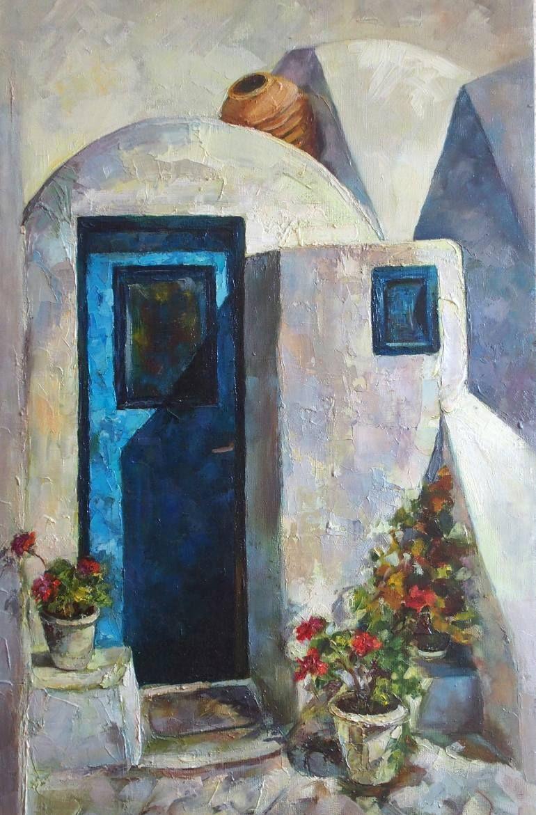Original Oil Painting Back Door Geranium