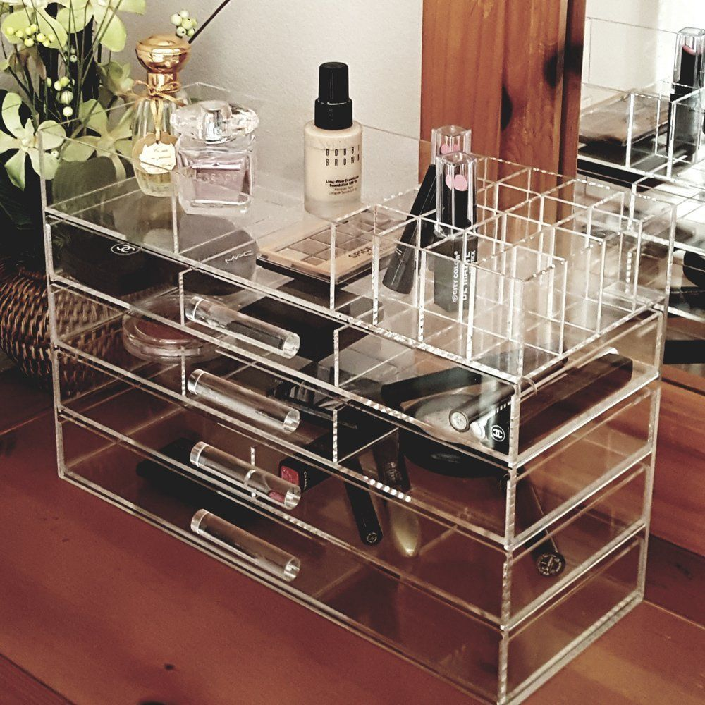 Ikee Design Large Clear Acrylic Jewelry and Cosmetic Storage Display