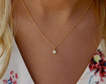 Delicate cz necklace tiny diamond pendant 14k gold fill chain delicate cz necklace tiny diamond pendant 14k gold fill chain elegant gold cz mozeypictures Image collections