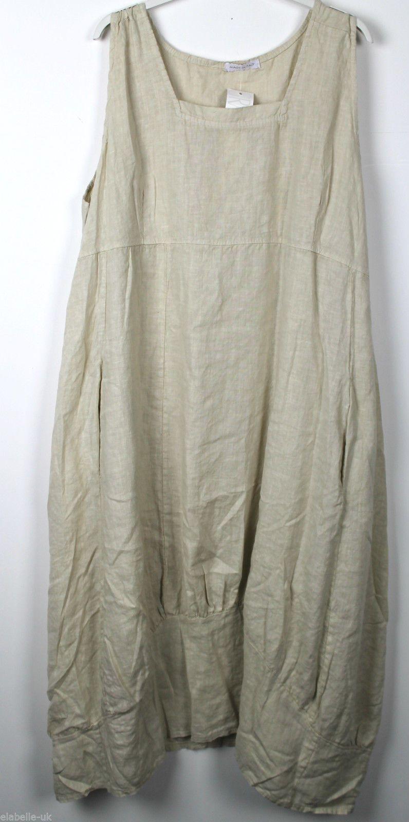 New ladies plain italian lagenlook quirky long boho pocket linen