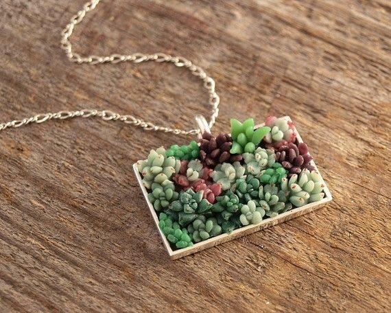 wearable succulent wall - via WoodlandBelle miniature polymer art