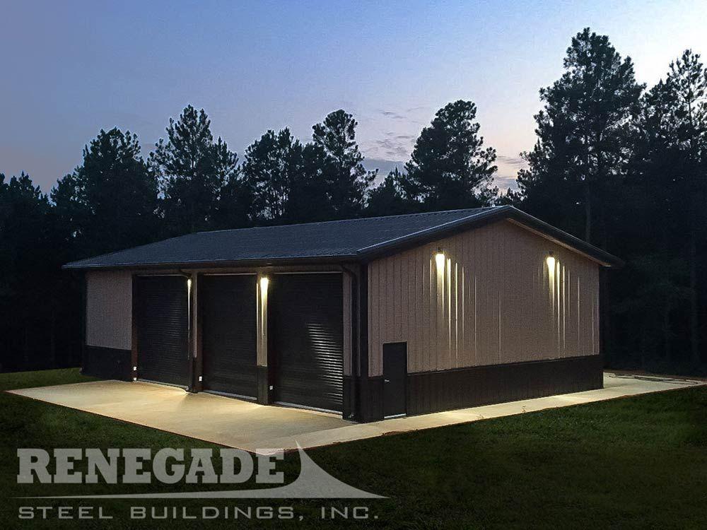 40x60 Metal Building At Night Residential Steel Buildings Metal