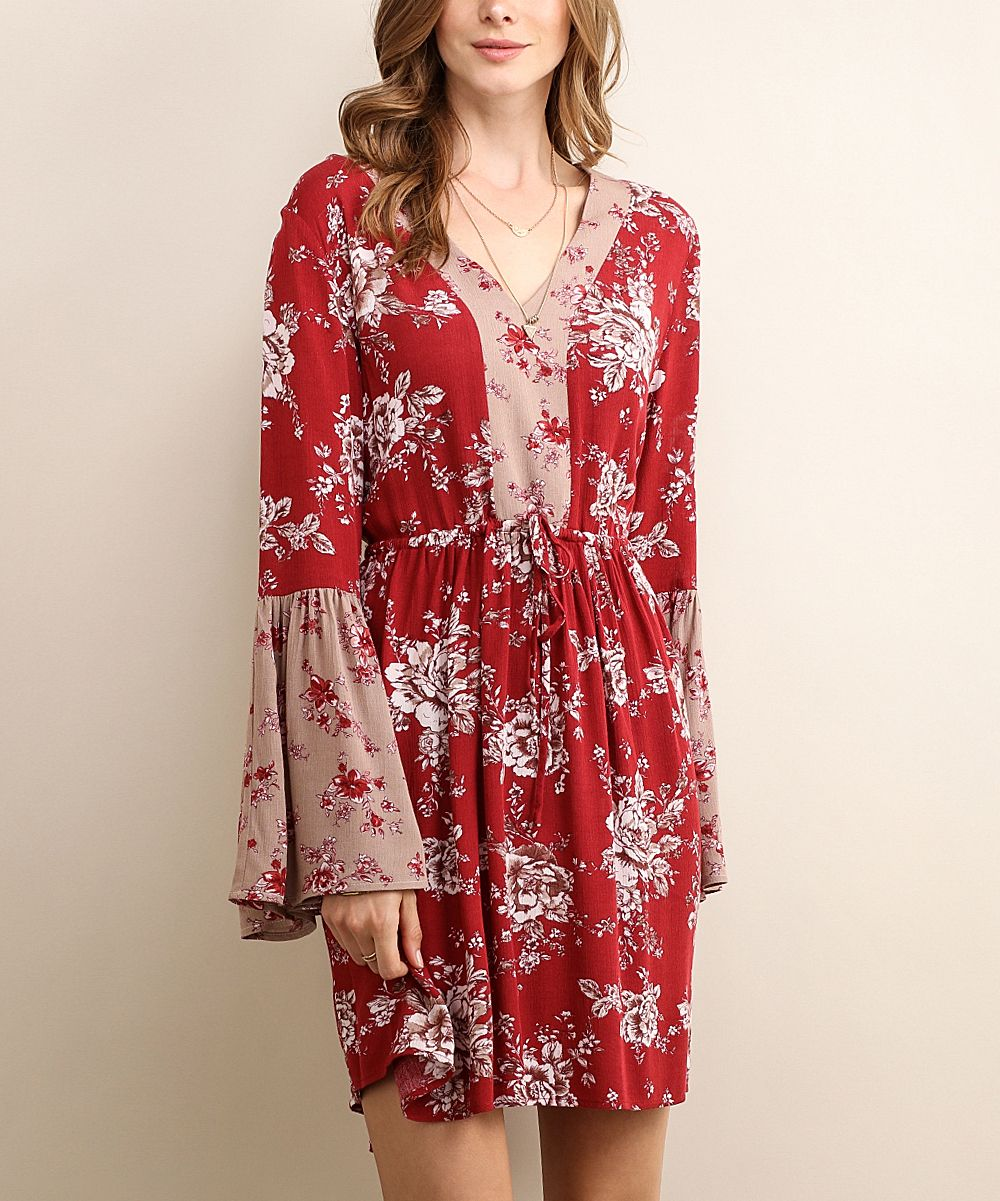 Burgundy Floral V-Neck Dress