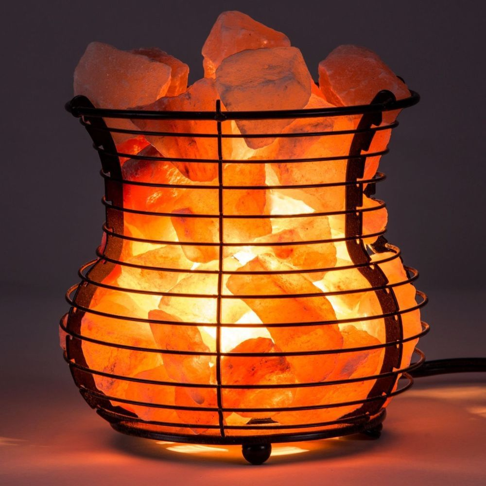 medium resolution of himalayan salt lamp wire mesh basket vase crystal rock bedroom home table light crystalallies