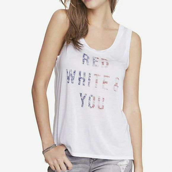 Express Red White and You Tank Top XS - NWT  Brand new, never worn, no damage.    Smoke-free, pet-free household.    No trades/swaps!   No holds!   No low-balling!   No PayPal!   ✔ Reasonable offers welcomed! Please use the offer button so I know you are serious about the item! I will not respond to price negotiations via comments.  ✔ I love bundling! Not only will you get ONE shipping fee, I will also discount your combined total! Please ask me in the comments!   Happy poshing!  Express…