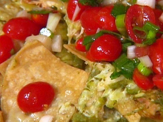 Roasted Chicken Nachos With Green Chili-Cheese Sauce #pioneerwomannachocheesecasserole