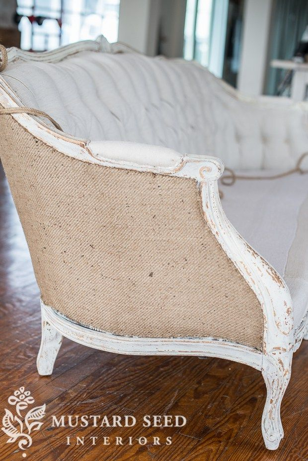 Burlap on the sofa back w/ tufted front covered in antique hemp ...