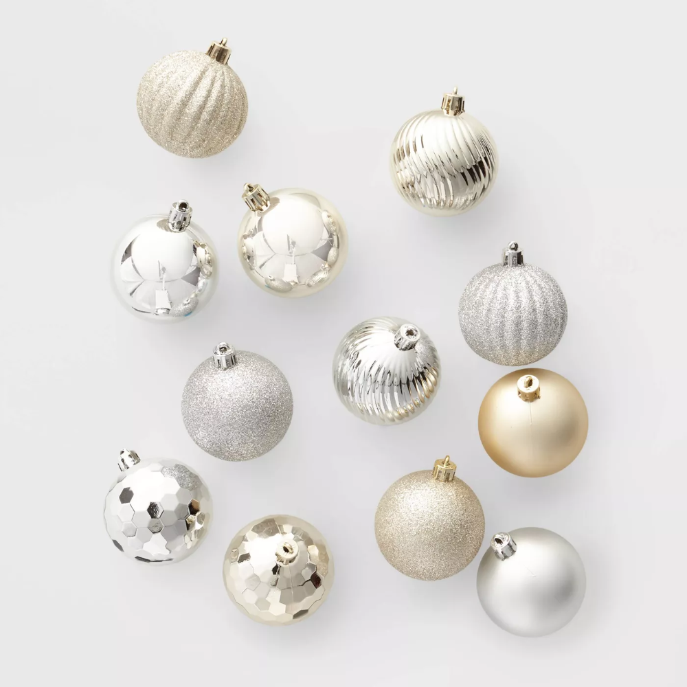 100ct Christmas Ornament Set Silver And Gold