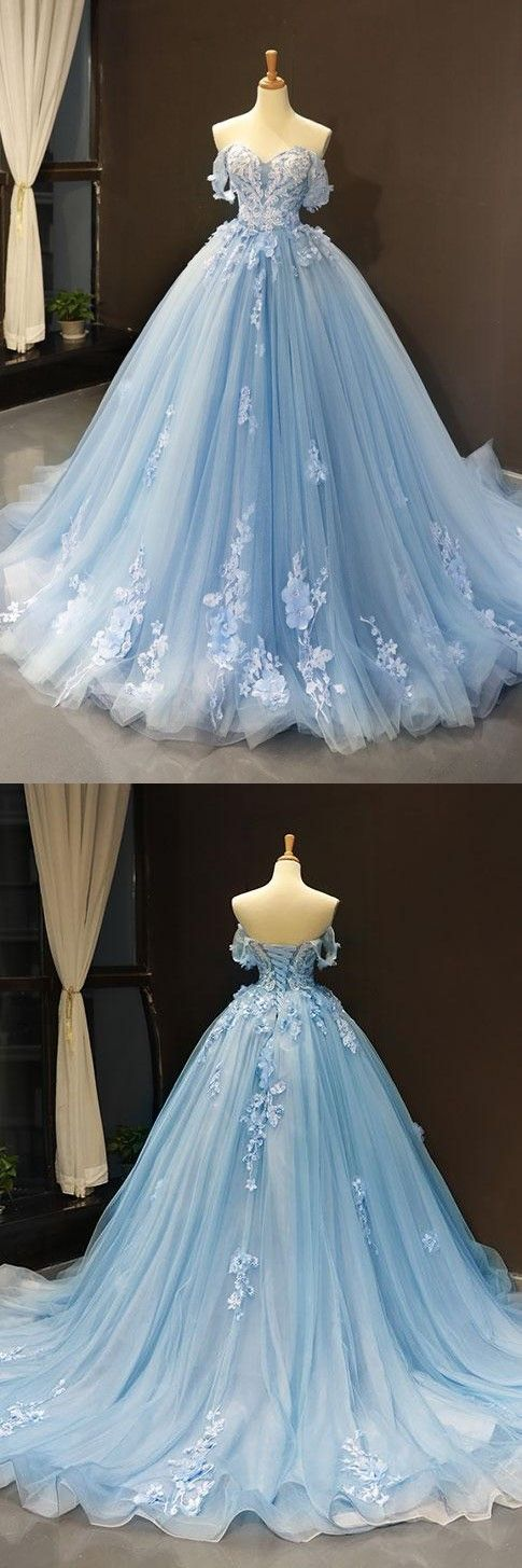 Photo of Sweetheart Off Shoulder Flowers Applique Ball Gowns,Blue Tul…